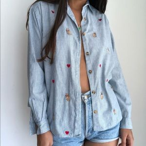 Vintage CAT embroidery button down denim blouse S